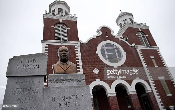 Bust of Dr. Martin Luther King is displayed in front of the Brown Chapel AME Church on March 5, 2015 in Selma, Alabama. Selma is preparing to...