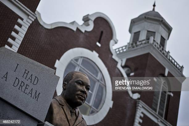 A bust of Dr Martin Luther King Jr is seen outside the Brown Chapel African Methodist Episcopal Church which served as the starting point for the...