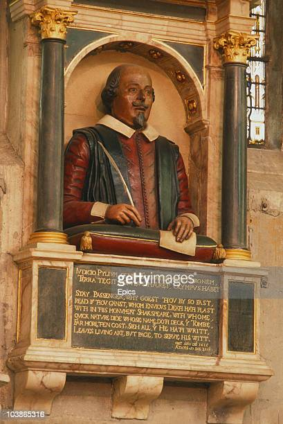 A bust of English playwright William Shakespeare part of the Shakespeare Memorial in The Holy Trinity Church StratforduponAvon Warwickshire August...