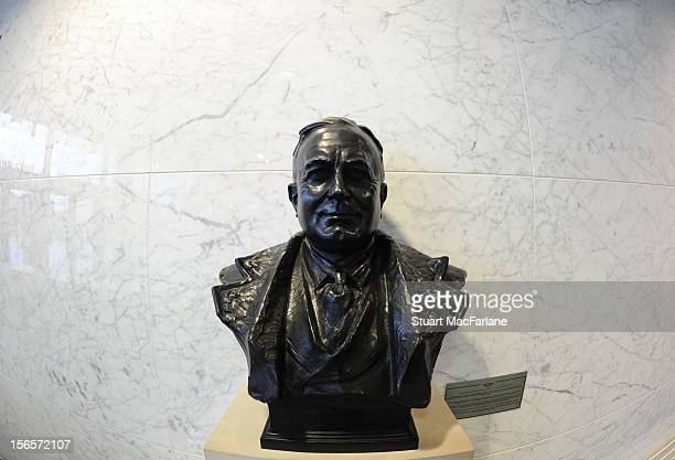 A bust of former Arsenal manager Herbert Chapman stands in the directors entrance at Emirates Stadium before the Barclays Premier League match...