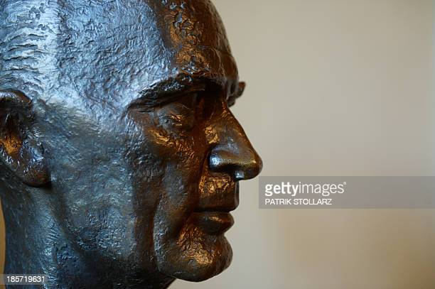 Bust of former head of German industrial conglomerate Krupp, Alfried Krupp von Bohlen und Halbach is pictured at the museum inside inside the Villa...