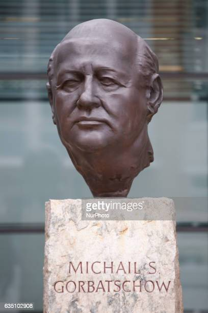 Bust of former leaders George Bush Helmut Kohl and Michail Gorbatschov are seen in front of the Axel Springer media offices in Berlin on 13 February...