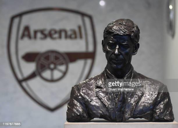 Bust of former manager Arsene Wenger in the Directors entrance at Emirates stadium the FA Cup Third Round match between Arsenal and Leeds United on...