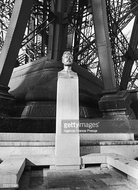 A bust of French engineer Alexandre Gustave Eiffel at the base of his best known creation the Eiffel Tower Paris 6th March 1979