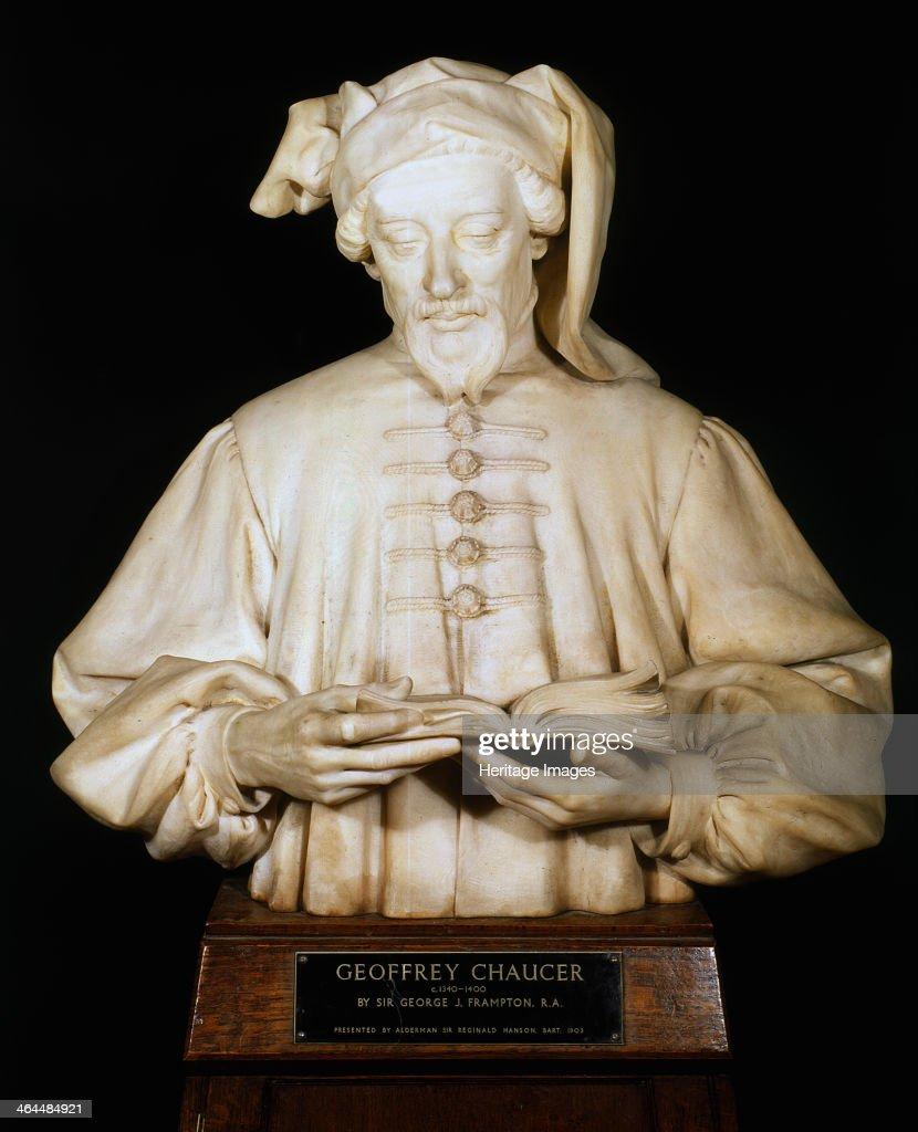 Bust of Geoffrey Chaucer, medieval English poet, 1902-1903. Artist: George Frampton : News Photo