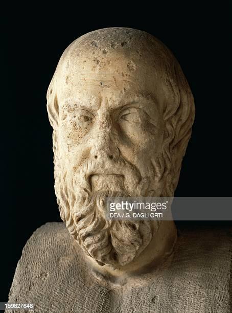 Bust of Herodotus , Greek historian. Sculpture, 2nd century. Athens, Agora Museum