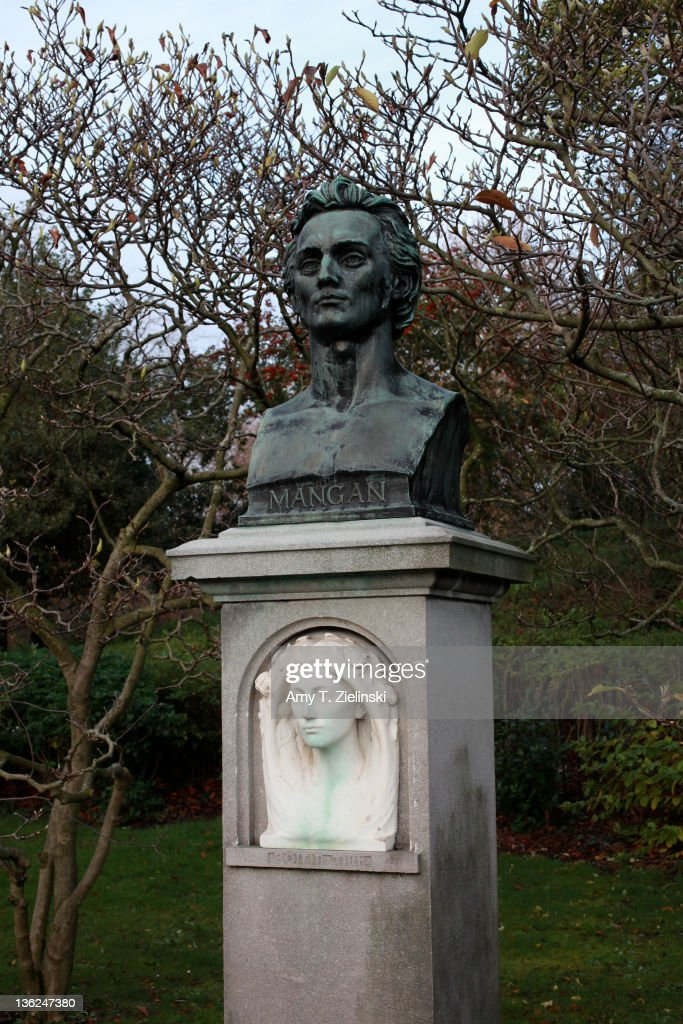 A bust of Irish poet James Clarence Mangan (1803 - 1849) in St Stephen's Green, Dublin, 1st December 2011.
