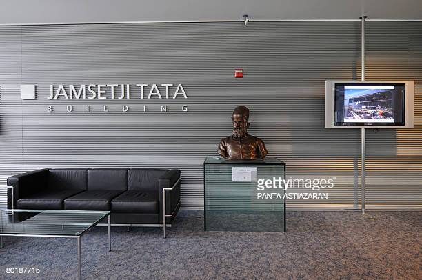 A bust of Jamsetji Tata founder of the Tata Group welcomes the arriving at the entrance of the building of the same name which is Tata Consultancy...
