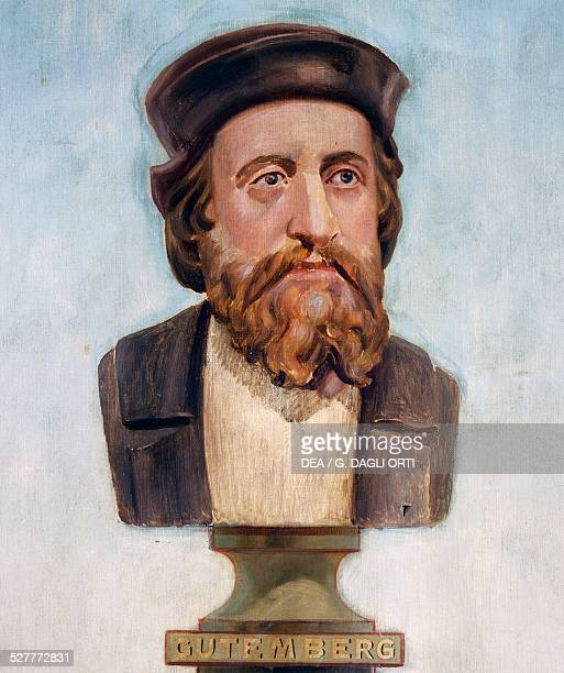 Bust of Johann Gutenberg illustration for the Positivist calendar miniature detail of the Temple of Humankind project to be carried out in accordance...