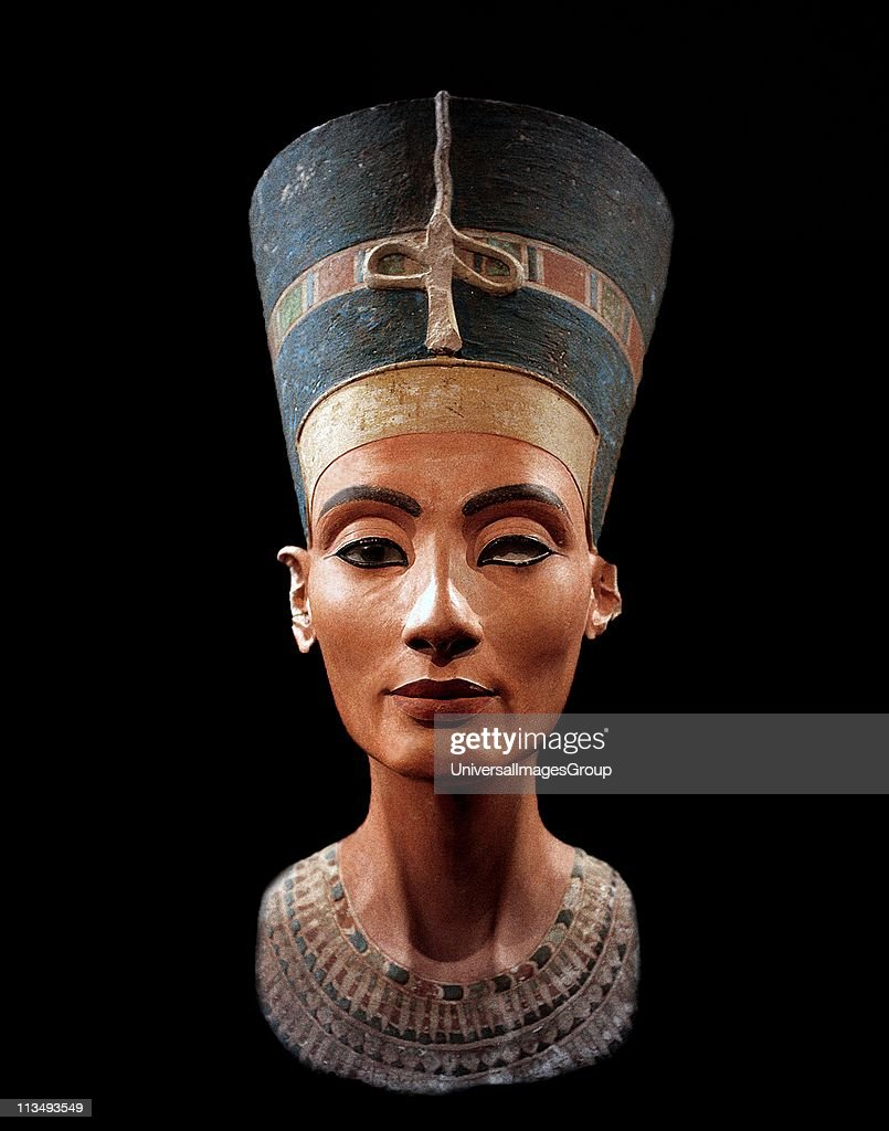 Bust of Nefertiti (c1370- c1330 BC) Great Royal Wife (chief consort) to the Egyptian Pharaoh Akhenaten. Nefertiti and her husband were known for a religious revolution. They worshipped one god only, Aten, the sun's disc. ... : News Photo