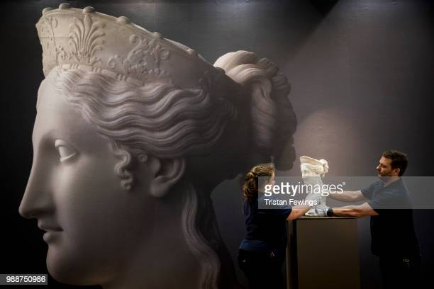 Bust of Peace by Antonio Canova goes on display as part of the Old Masters Exhibition at Sotheby's on June 29 2018 in London England The Treasures...