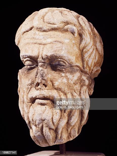 Bust of Plato Athenian philosopher Sculpture Hellenistic replica of an original by Silanion Thasos Museum