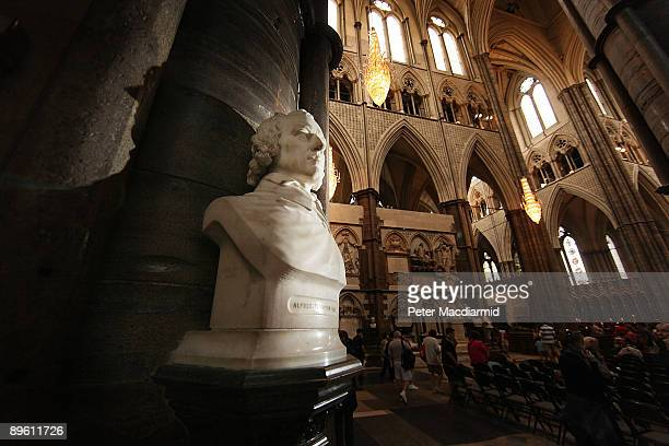 A bust of Poet Lord Alfred Tennyson stands in Poets' Corner in Westminster Abbey on August 5 2009 in London Lord Tennyson Poet Laureate was born in...