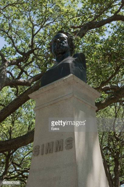 A bust of poet novelist and historian William Gilmore Simms in The Battery park Charleston South Carolina the statue was unveiled in 1879