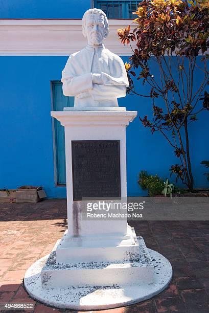 Bust of priest Pablo T Noya Minguez at the Parroquial Mayor Cathedral in Sancti Spiritus Cuba Iglesia Parroquial Mayor del Espiritu Santo church is...