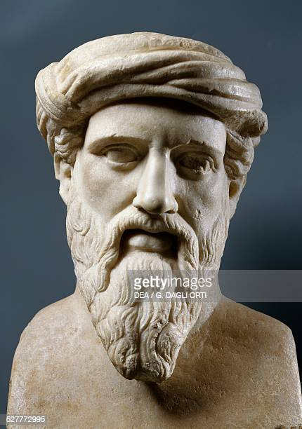 Bust of Pythagoras ancient Greek mathematician philosopher astronomer scientist and politician Roman era marble bust Roma Museo Capitolino