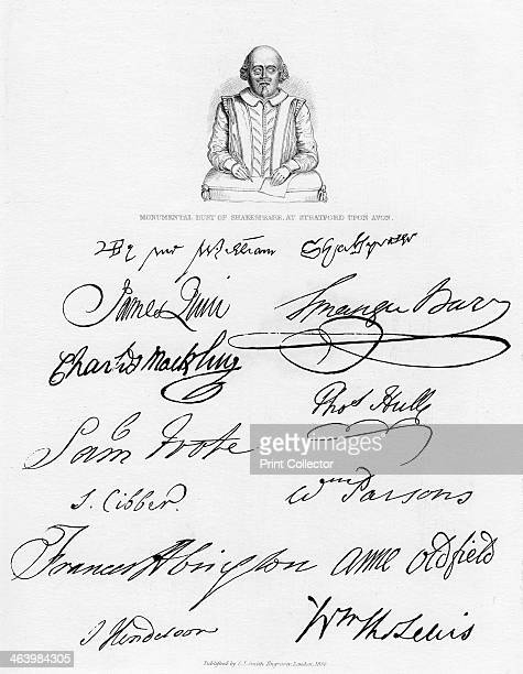 Bust of Shakespeare and signatures of celebrated actors Drawing of a monumental bust of William Shakespeare at his birthplace StratfordUponAvon and...