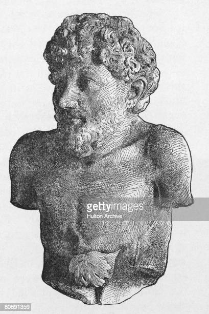 A bust of slave and storyteller Aesop who lived in ancient Greece and is known for the genre of fables ascribed to him circa 550 BC