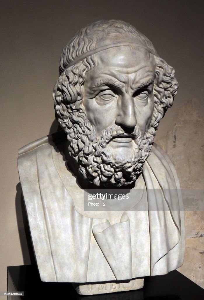 Bust of the blind poet Homer : News Photo
