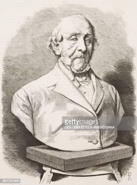 Bust of the Italian politician Gino Capponi by Antonio Bortone engraving from L'Illustrazione Italiana Year 3 No 16 February 13 1876