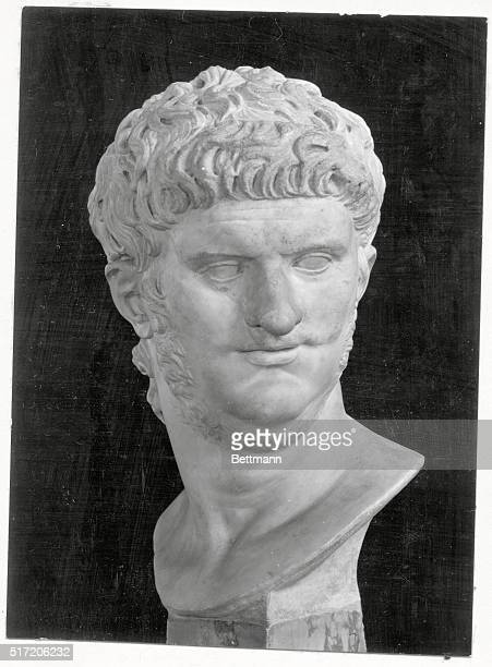Bust of the Roman Emperor Nero now on display at a museum Undated photograph