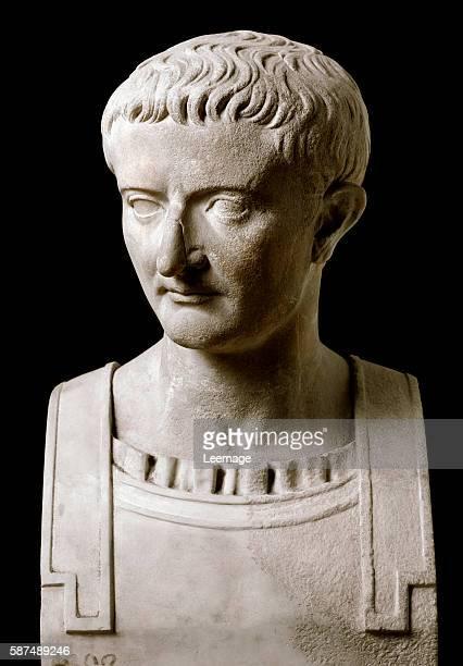 Bust of Tiberius , Roman emperor - Marble sculpture from Herculaneum, 1rst century AD