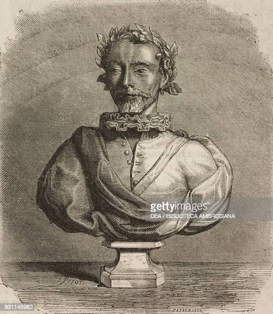 Bust of Torquato Tasso drawing by J Petot from Rome 18641868 by Francesco Wey from Il Giro del mondo Journal of geography travel and costumes Volume...
