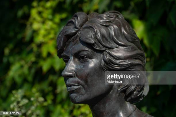 Bust of Virginia Wade outside the main entrance of the All England Club on day twelve of the Wimbledon Lawn Tennis Championships at the All England...