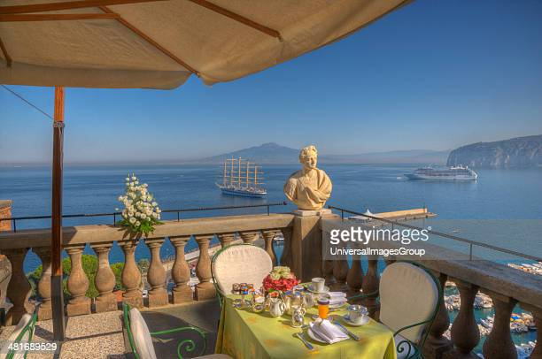 Bust on the balcony of a terrace with the sea in the background Sorrento Campania Italy