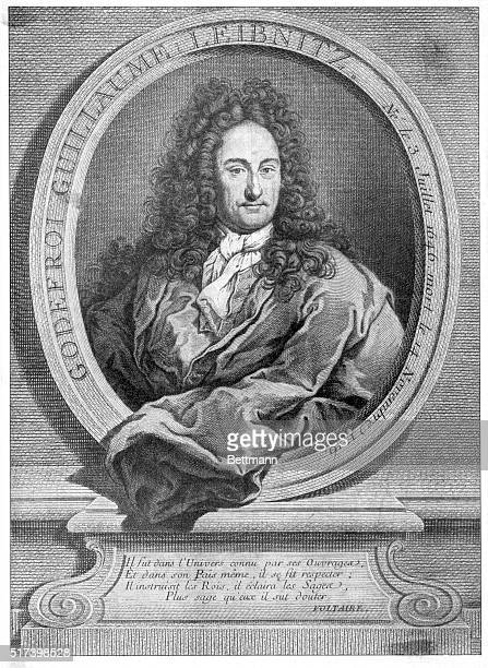 Bust portrait of Baron Gottfried Wilhelm Leibniz, German philosopher and mathematician . He invented calculus independently of Isaac Newton and his...