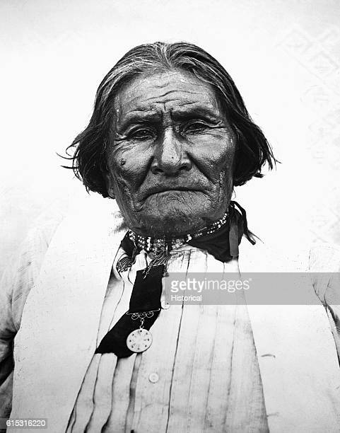 A bust portrait of Geronimo an Apache leader who lead a series of raids on white settlements in the Southwest