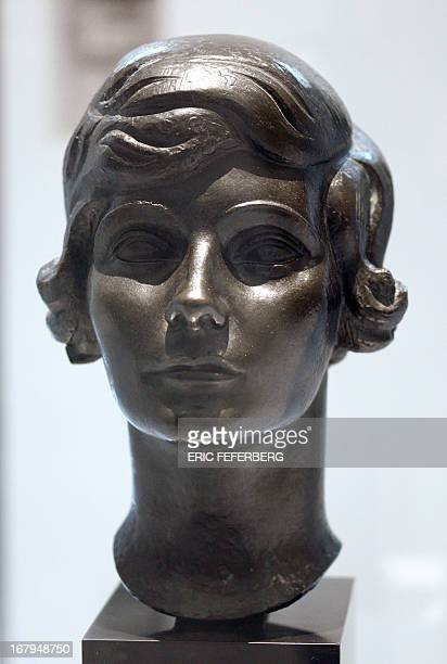 A bust representing Coco Chanel made by Jacques Lipchitz in 1921 is displayed as part of the exhibition N°5 culture Chanel at the Palais de Tokyo in...