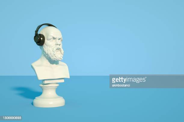 bust sculpture with headphones - statue stock pictures, royalty-free photos & images