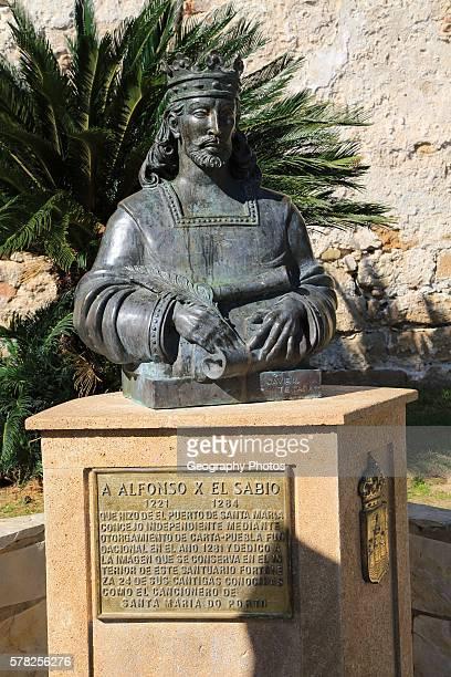 Bust statue of King Alfonso the Wise ruler of Castile and Leon 12211284 Castillo de San Marcos Puerto de Santa Maria Cadiz province Spain