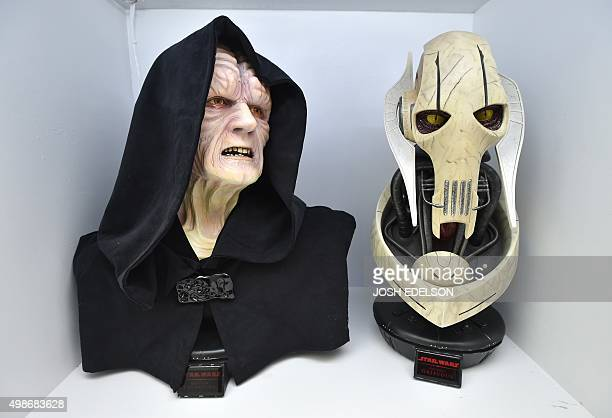 Bust statues of Emperor Palpatine and General Grievous are seen on display inside Rancho ObiWan the world's largest private collection of Star Wars...