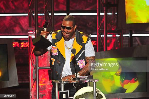 Busta Rhymes accepts an award during the BET Hip Hop Awards 2011 at the Boisfeuillet Jones Atlanta Civic Center on October 1 2011 in Atlanta Georgia
