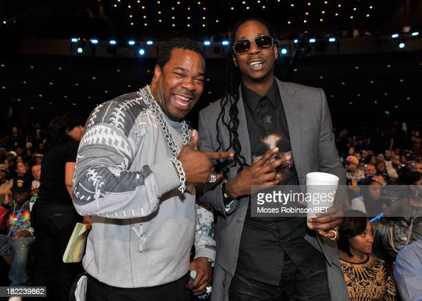 Busta Rhymes and 2 Chainz pose at the BET Hip Hop Awards 2013 at Boisfeuillet Jones Atlanta Civic Center on September 28, 2013 in Atlanta, Georgia.
