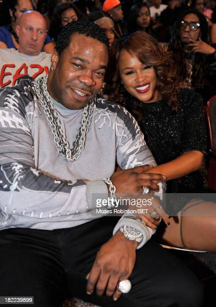 Busta Rhymes and Eve pose at the BET Hip Hop Awards 2013 at Boisfeuillet Jones Atlanta Civic Center on September 28, 2013 in Atlanta, Georgia.