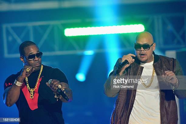 Busta Rhymes and Fat Joe perform onstage at the 2012 BET Hip Hop Awards at Boisfeuillet Jones Atlanta Civic Center on September 29, 2012 in Atlanta,...