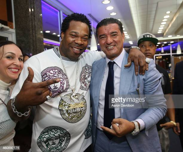 Busta Rhymes and Jacob Arabo attend Haute Time Russia Hosts Jacob Co and ECJ Holiday Party at Sunny Isles Beach Gallery on January 3 2014 in North...