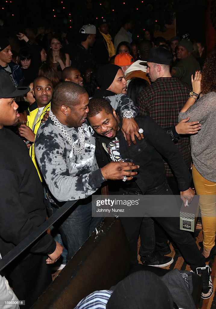 Busta Rhymes and Just Blaze attend Raekwon's birthday party at Greenhouse on January 14, 2013 in New York City.