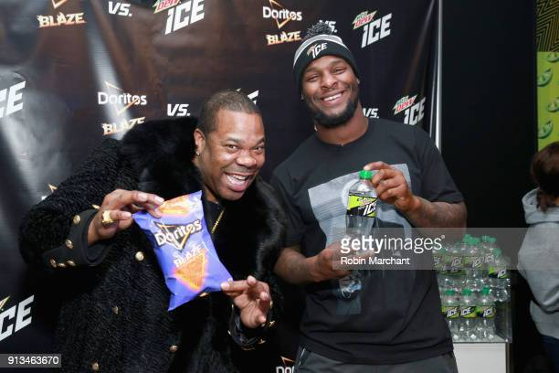 BLOOMINGTON MN FEBRUARY Busta Rhymes and Le'Veon Bell from the Pittsburgh Steelers go head to head with Mtn Dew ICE and Doritos Blaze at the Mall of...