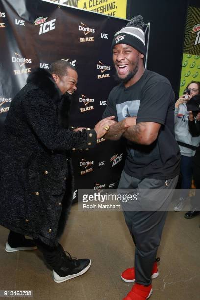 Busta Rhymes and Le'Veon Bell from the Pittsburgh Steelers go head to head with Mtn Dew ICE and Doritos Blaze at the Mall of America on February 2...
