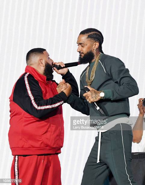 Busta Rhymes and Nipsey Hussle perform onstage during the 'On The Run II' Tour at Rose Bowl on September 22 2018 in Pasadena California