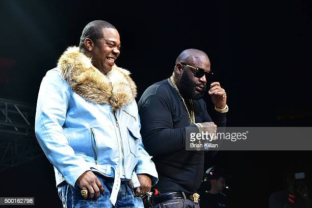 Busta Rhymes and Rick Ross perform at The Conglomerate And Hot 97 Present 'Busta Rhymes And Friends Hot For The Holiday' at Prudential Center on...