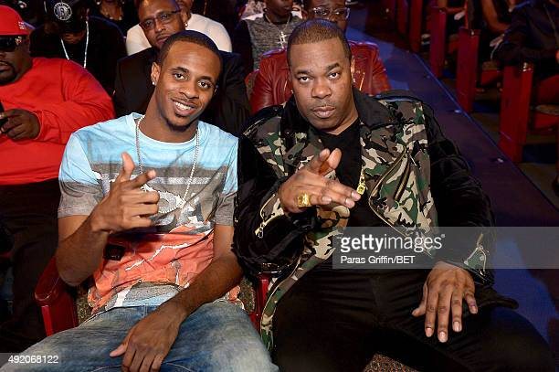 Busta Rhymes and son T'ziah WoodSmith performs onstage at the BET Hip Hop Awards Show 2015 at the Atlanta Civic Center on October 9 2015 in Atlanta...
