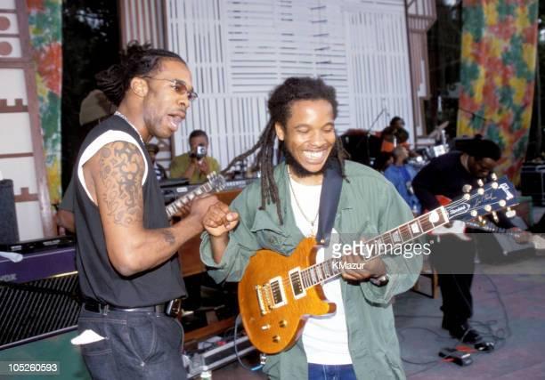 Busta Rhymes and Ziggy Marley during TNT Bob Marley All Star Tribute at James Bond Beach in Oracabeca Beach Jamaica Jamaica