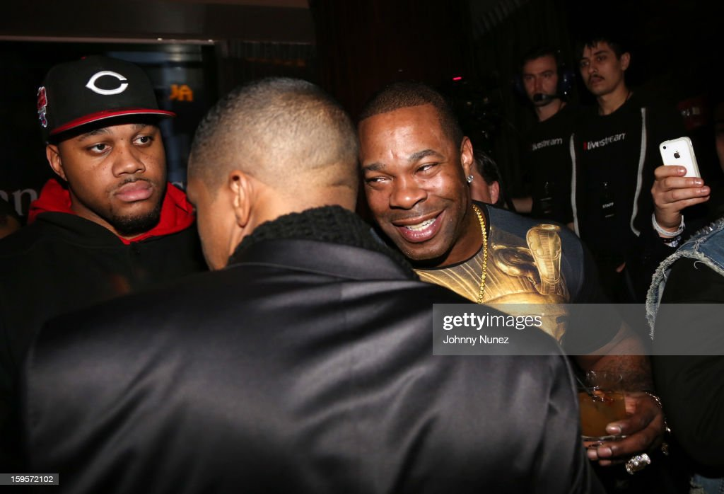 Busta Rhymes (r) attends Hennessy vs Introduces Nas As Newest Partner at R Lounge at the Renaissance New York Times Square Hotel on January 15, 2013 in New York City.