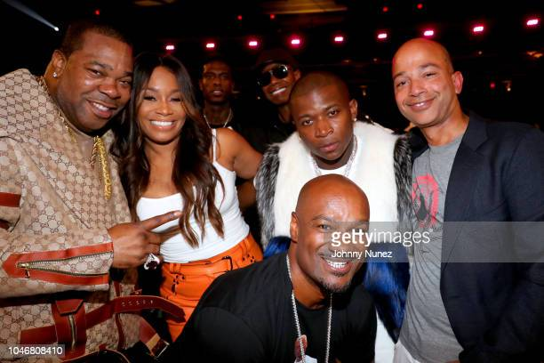 Busta Rhymes Connie Orlando OT Genasis Big Tigger and Scott Mills are seen backstage during the BET Hip Hop Awards 2018 at Fillmore Miami Beach on...