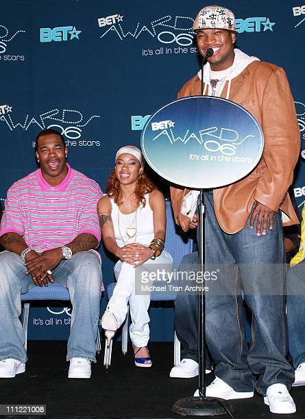 Busta Rhymes Keyshia Cole and NeYo during 2006 Bet Awards Nominees Press Conference at Renaissance Hollywood Hotel in Hollywood California United...